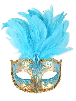 Gold and Aqua Deluxe Masquerade Mask