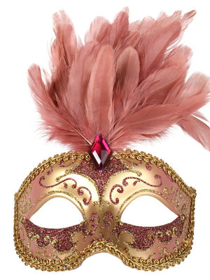 Gold and Pink Deluxe Masquerade Mask