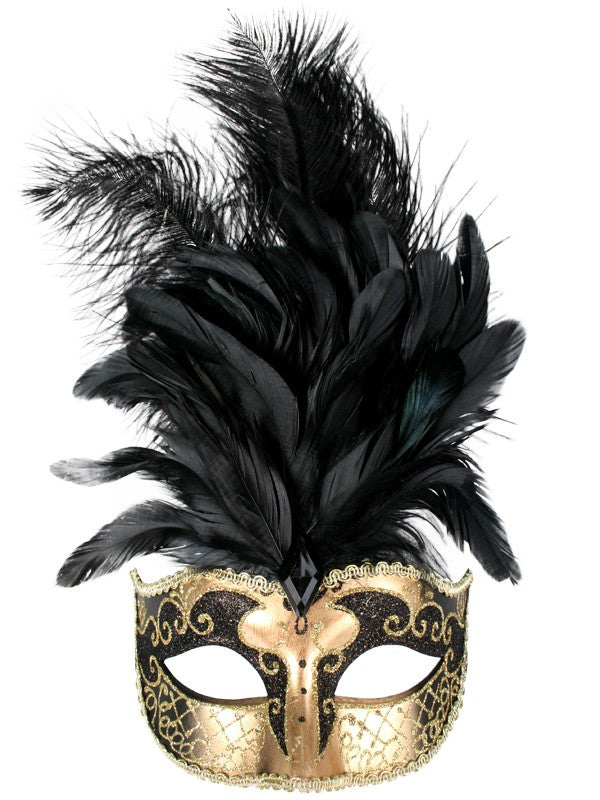 Black and Gold Deluxe Feathered Mask