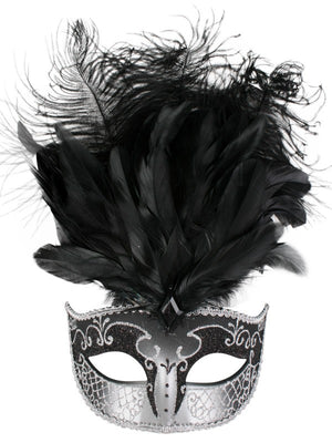 Black and Silver Deluxe Feathered Mask