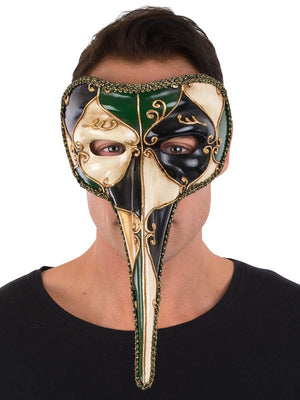 Green Venetian Long Nose Mask