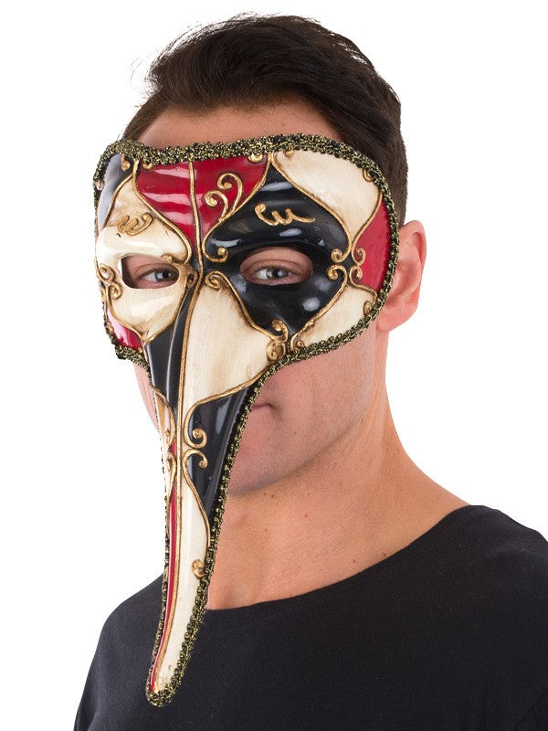 Red Venetian Long Nose Mask