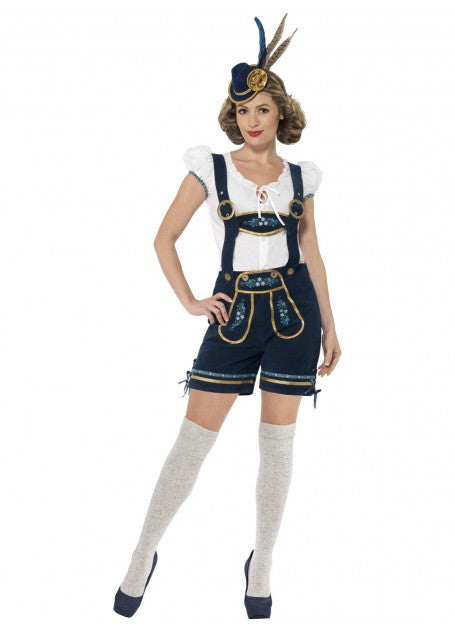 Women's Navy Lederhosen Shorts