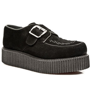 M.2402-R3 New Rock Black Suede Buckle Creepers