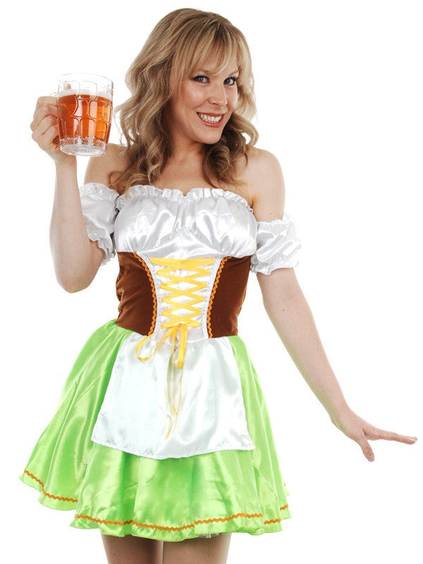 Green and Brown Oktoberfest Dirndl Dress