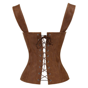 Tan Strappy Corset With Zip
