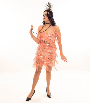Great Gatsby Inspired Flapper Dress in Soft Peach