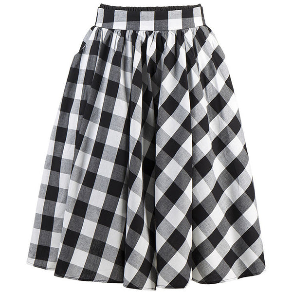 50's Black and White Plaid Skirt