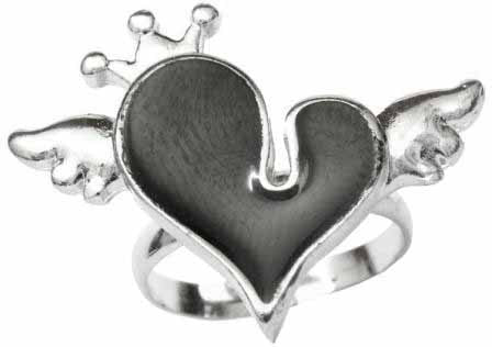 Black Heart with Wings & Crown Ring
