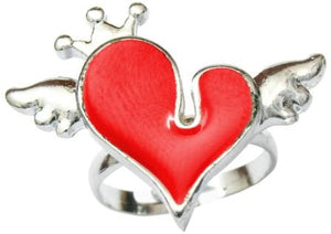 Red Heart with Wings & Crown Ring