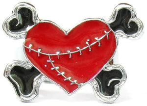 Red Heart & Cross Bones Ring