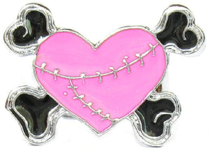 Pink Heart & Cross Bones Ring