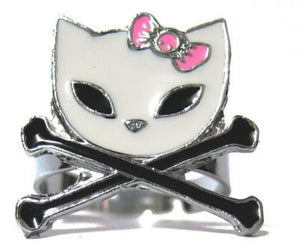 Cat & Cross Bones Ring