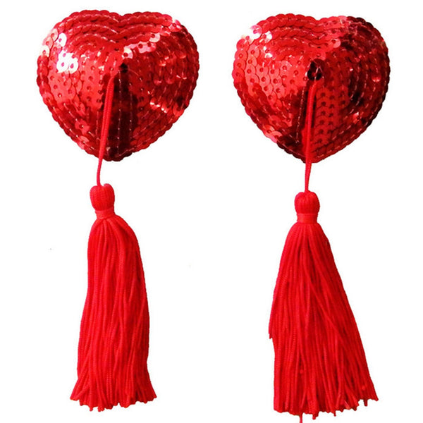 Heart Shaped Red Sequined Nipple Tassels