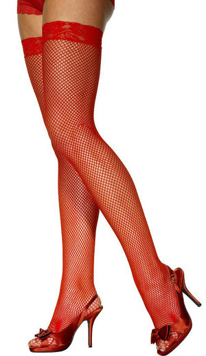 Red Fishnet Thigh Highs