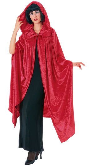 Hooded Velvet Cape - Red