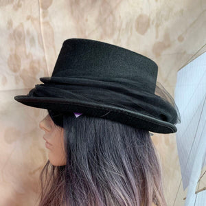 Black Top Hat with Tulle