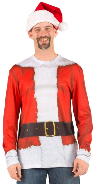 Long Sleeved Printed Santa T-Shirt