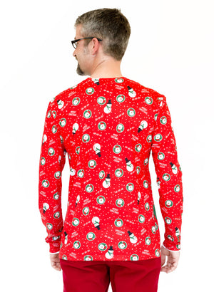 Long Sleeve Printed Christmas Suit Jacket T-Shirt