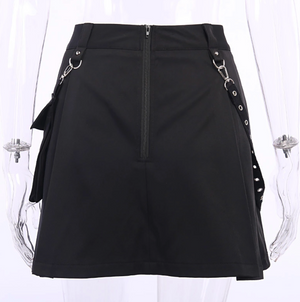 Black Punk Eyelet Skirt