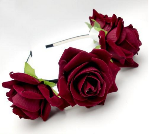 Deep Red Rose Headband