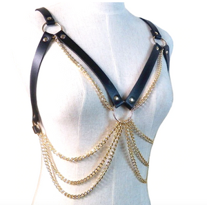 Chest Harness with Gold Chain