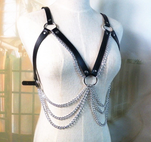 Chest Harness with Silver Chain