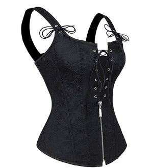Black Jacquard Strappy Corset With Zip