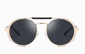 Gold and Black Retro Round Glasses