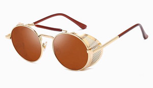 Gold and Brown Retro Round Glasses