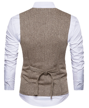 Brown Tweed Double-Breasted Men's Vest