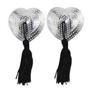 Heart Shaped Silver Sequined Nipple Tassels