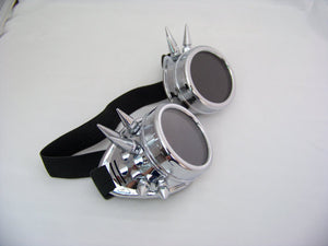 Silver Steampunk Goggles With Spikes