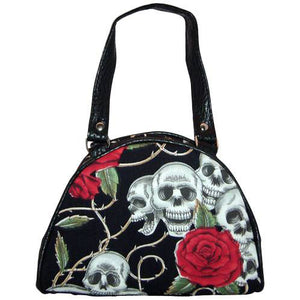 Handbag small black skull and roses