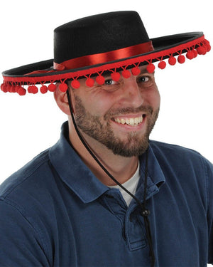 Spanish hat with black and red trim
