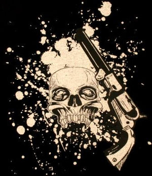 Mens Gun and Skull Monster Screen Factor T-shirt