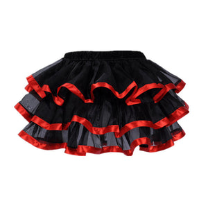 Tiered Tutu Black with Red Trim