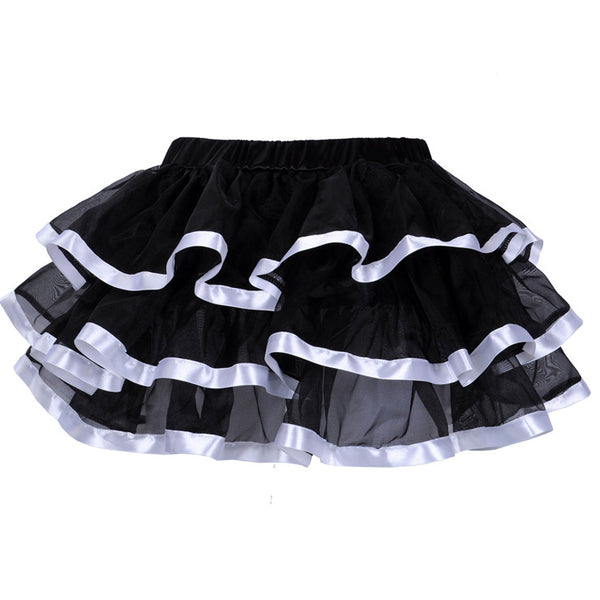 Tiered Tutu Black with White Trim