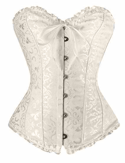 Antique White Busk Closure Overbust Corset