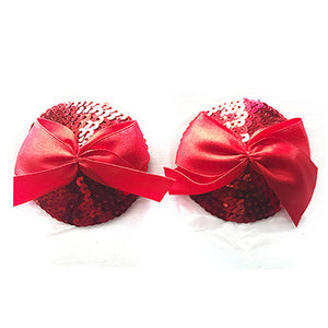Red Sequined Nipple Pasties with Bow