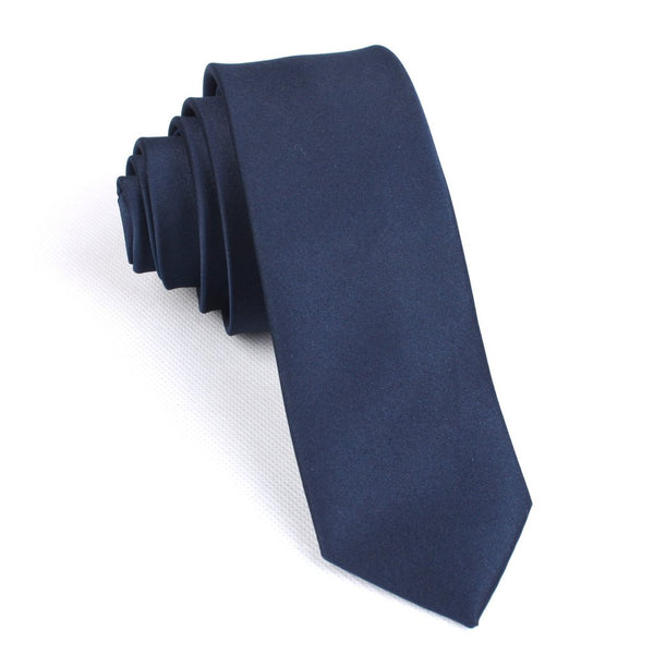 Navy Blue Satin Skinny Neck Tie