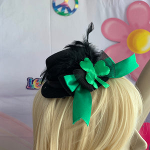 Black Shamrock Mini Top Hat