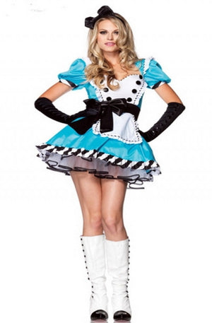 Bright Blue Satin Alice In Wonderland Costume