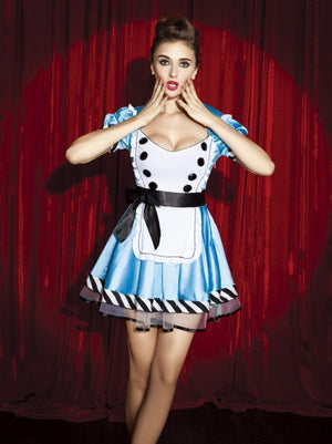 Blue Stretch Satin Alice In Wonderland Costume