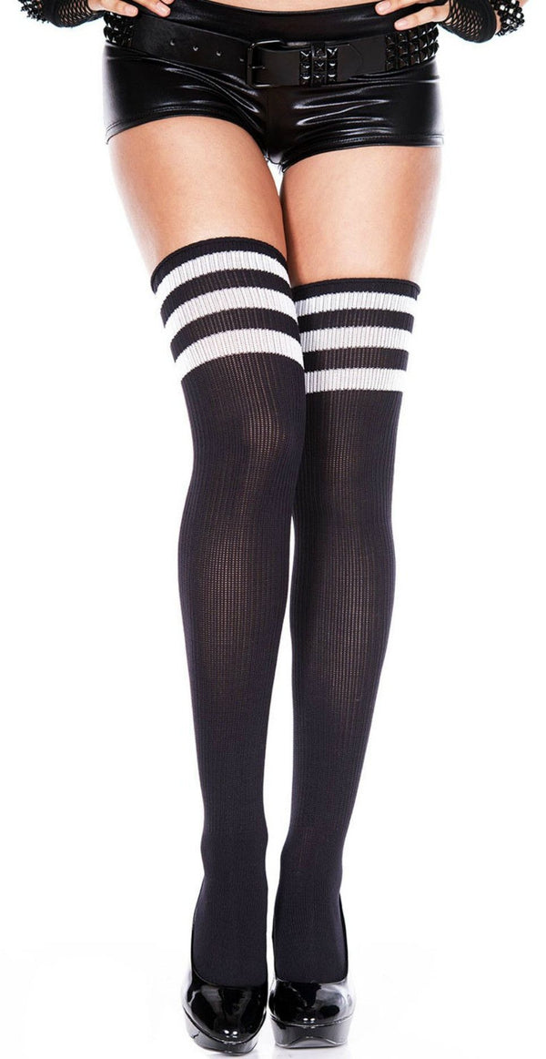 Athletic Thigh High Sports Socks Black