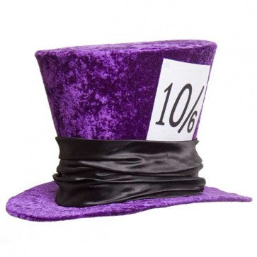 Large Velvet Mad Hatter Purple Top Hat