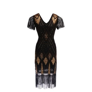 Black and Gold Gatsby Dress with flutter sleeve