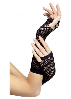 Long Black Fingerless Fishnet Gloves