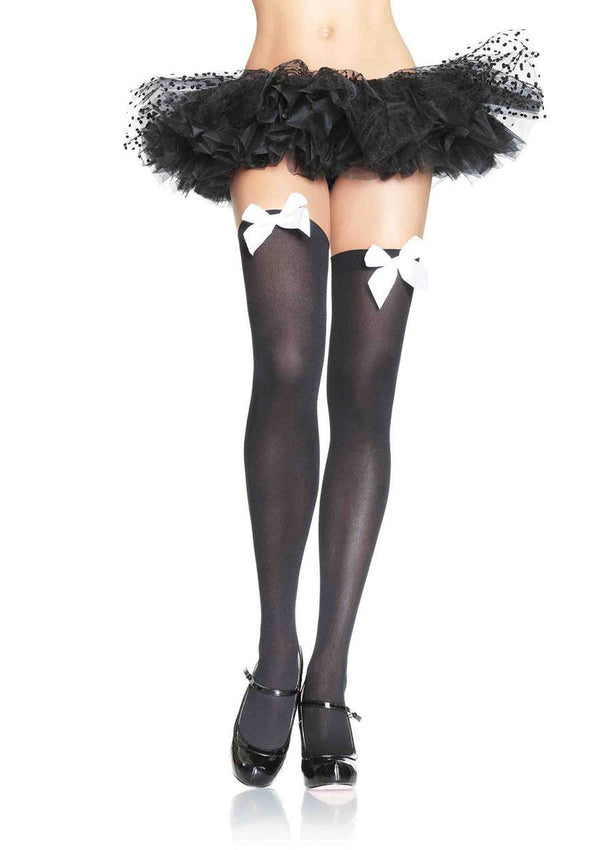 Black Thigh Highs with White Bows