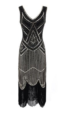 Black and Silver Beaded 1920's Gatsby Dress